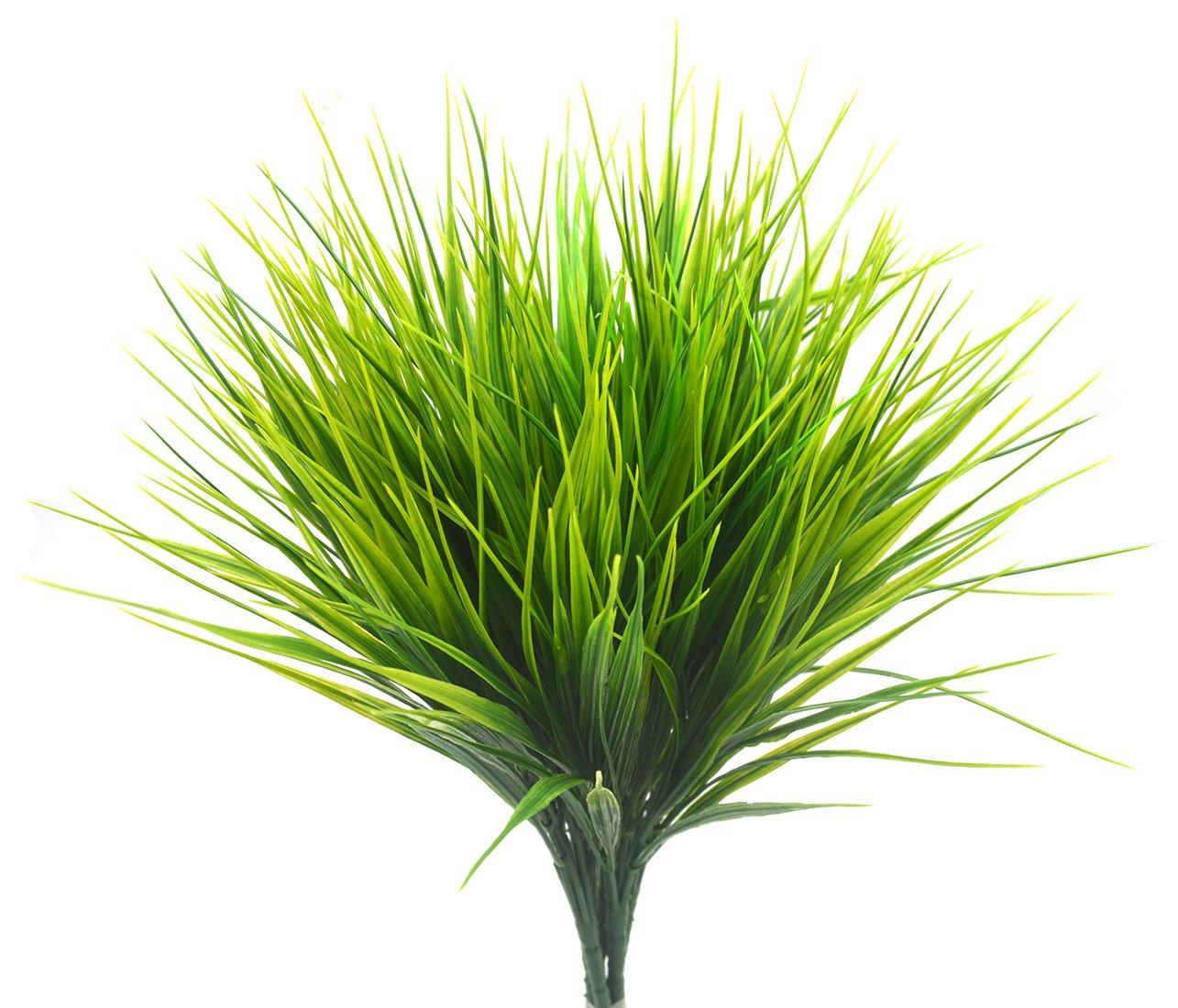 Bird Fiy Plastic Wheat Grass Fake Leaves Shrubs Greenery Bushes Indoor Outside Home Garden Office Verandah Wedding Decor/4Pcs