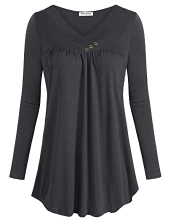 0493678ee6d Becanbe Long Sleeve Shirts for Women,Ladies Elegant Pleated Blouse Casual  Business Tunic Zulily Cross