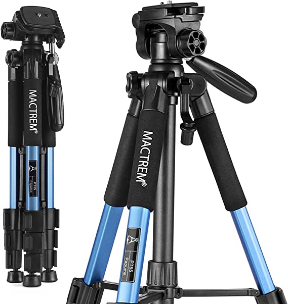 Mactrem PT55 Travel Camera Tripod Lightweight Aluminum for DSLR SLR Canon Nikon Sony Olympus DV with Carry Bag -11 lbs(5kg) Load (Blue)