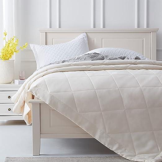 SunStyle Home Quilt Queen Beige Lightweight Comforter Reversible Bedspread for All Season Soft Cozy Quilted Summer Blanket Down Alternative Bedding (90