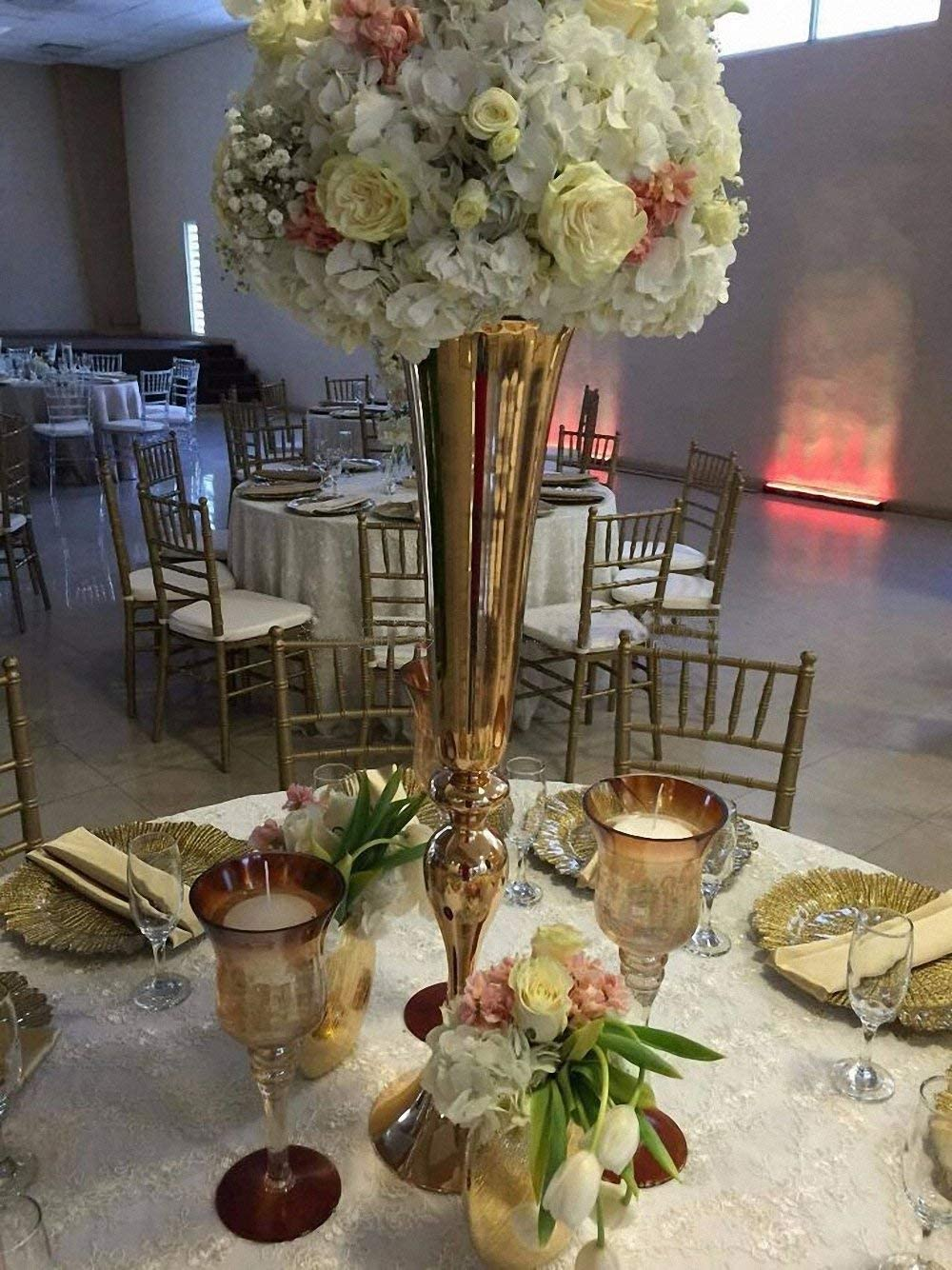 Amazon Com Everbon Set Of 10 Wedding Flower Vase Gold Metal Table