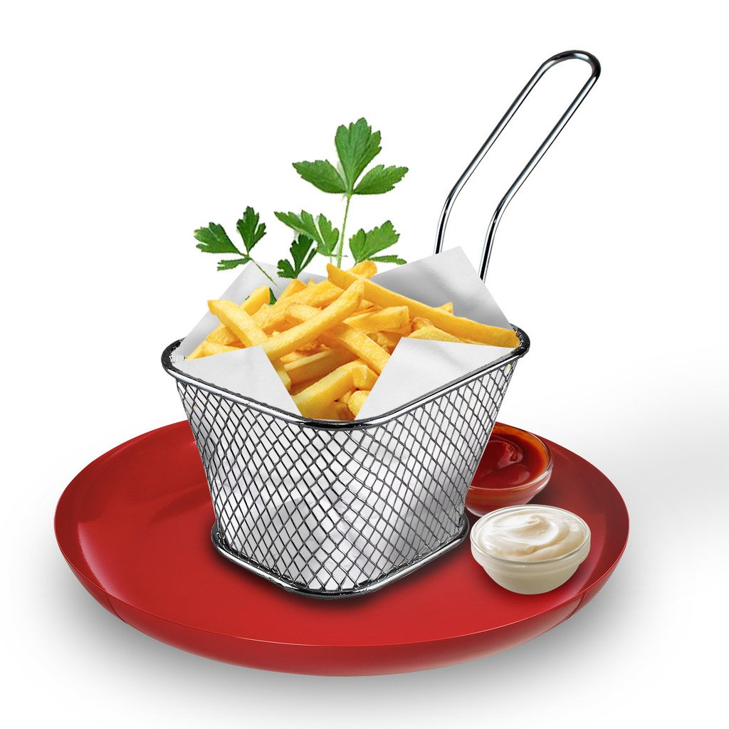 Chips Serving Basket French Fries Potato Veggie Dish Party Restaurant Style Cafe (1) Guaranteed4less