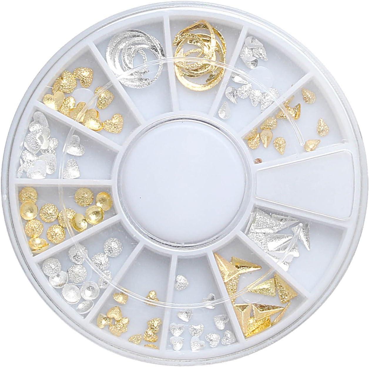 1 caja de DIY 3d aleación brillante oro plata brillo uñas arte ...