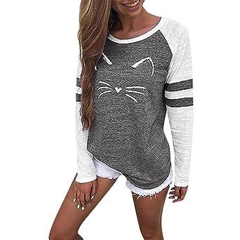 ALIKEEY Damas Cat Print De Rayas De Manga Larga Tops De La Camiseta De Panel Top Mujer Blusa Bluson Sudadera Oversize del Vendaje Impresa Rayado Cuello: ...