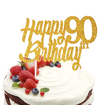 Image Unavailable Not Available For Color Sunny ZX Gold Happy 90th Birthday Cake