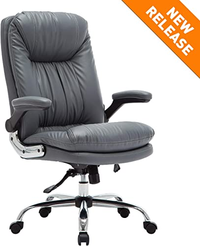 YAMASORO Ergonomic Office Chair with Flip-Up Arms and Comfy Headrest PU Leather High-Back Computer Desk Chair Gray