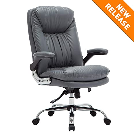 B2C2B High Back Ergonomic Home Office Chair - Leather Computer Executive  Desk Chair Modern Racing Chair Adjustable with Flip-up Arms Lumbar Support  ...