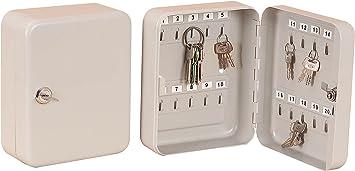 Armario para guardar llaves, caja de seguridad de metal con cerradura, portallaves metálico (20 llaves): Amazon.es: Bricolaje y herramientas