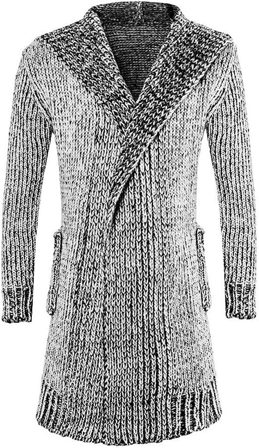Men Knitted Irregule Cardigan Coat Long Sleeve Hoody Jacket Sweater Outwear New