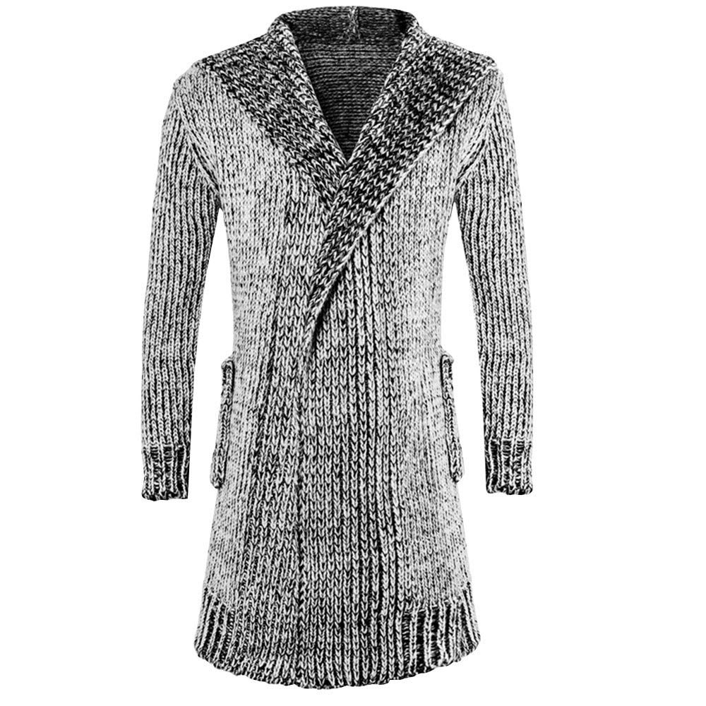 SPORTTIN Men's Casual Long Cardigan Sweater Cable Knit Thick Hooded with Pockets Soft Coat(Gray,M