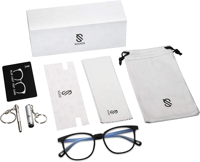 SOJOS Classique Lunettes Anti-Lumi/ère Bleue Carr/é Prescriptionable Lunettes SJ5077