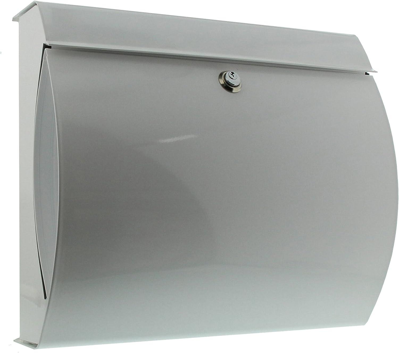 BURG-WÄCHTER Verona 844 W Buzón de acero inoxidable con portaperiódicos integrado, Blanco