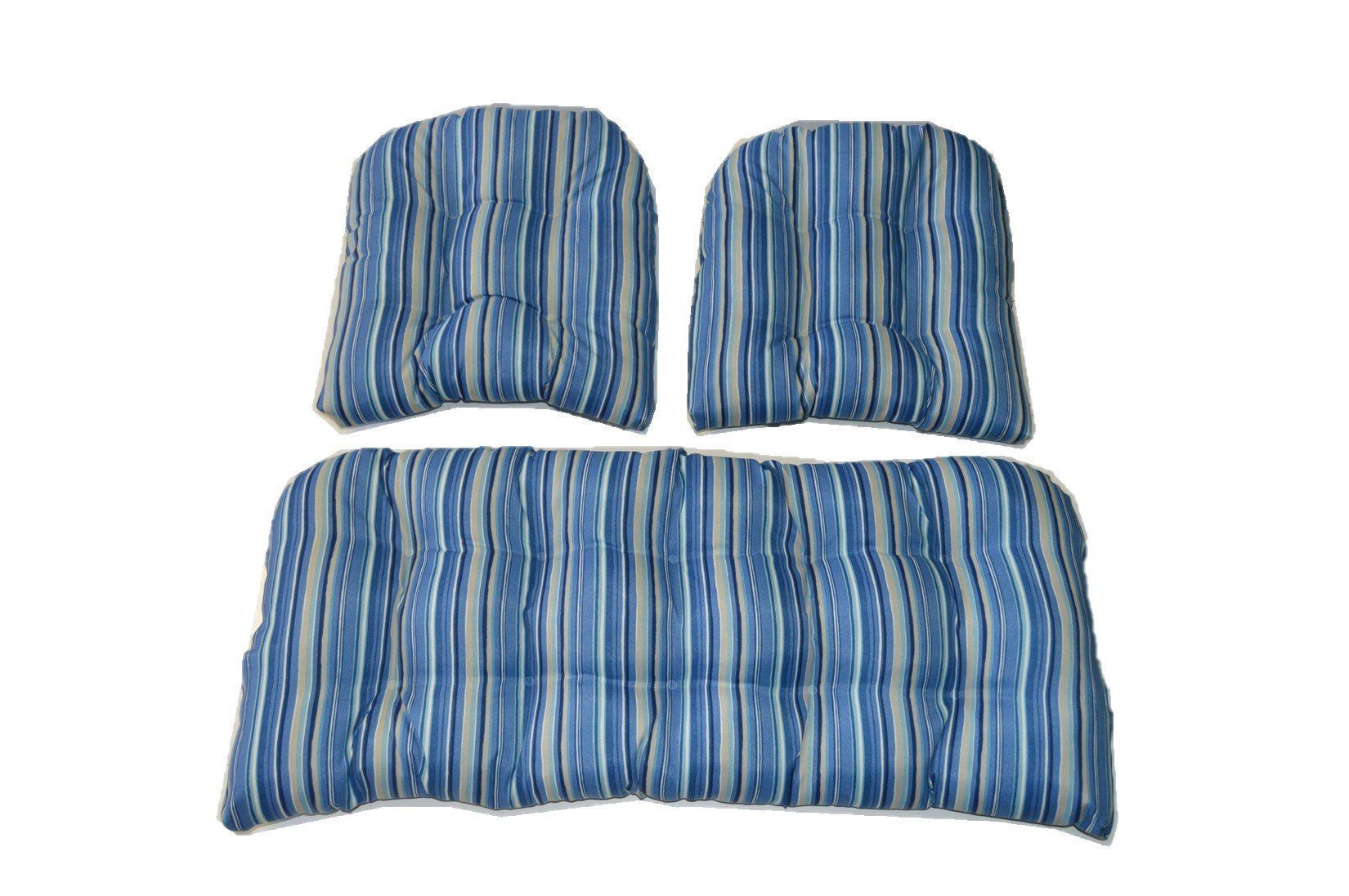 3 Piece Wicker Cushion Set - Indoor / Outdoor Sapphire Blue, Tan Stripe Wicker Loveseat Settee & 2 Matching Chair Cushions