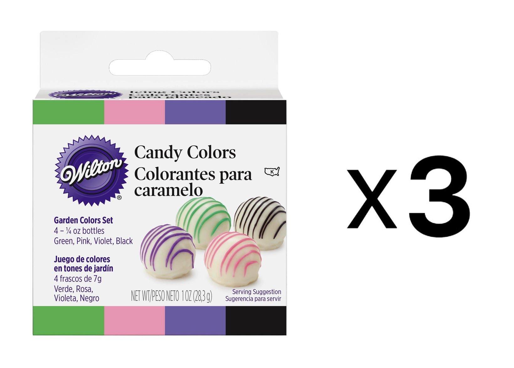 Bulk Buy: Wilton Candy Colors 1/4 Ounce 4/Pkg Pink/Green/Violet/Black W1913-1298 (3-Pack)