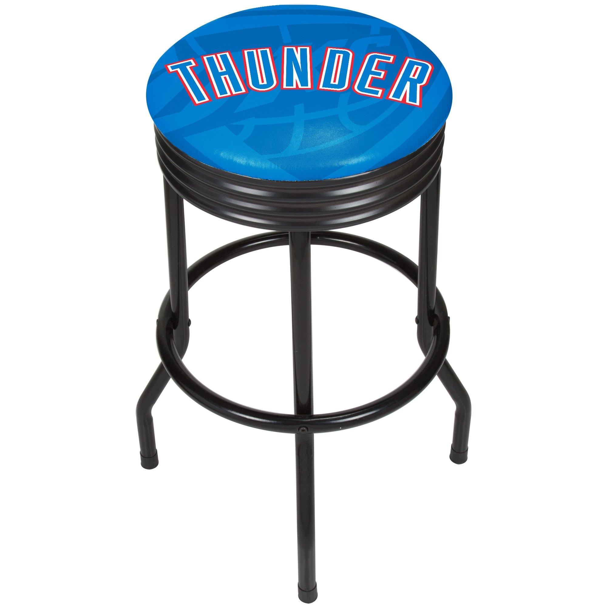 Trademark Gameroom NBA1006-OCT2 NBA Black Ribbed Bar Stool - Fade - Oklahoma City Thunder