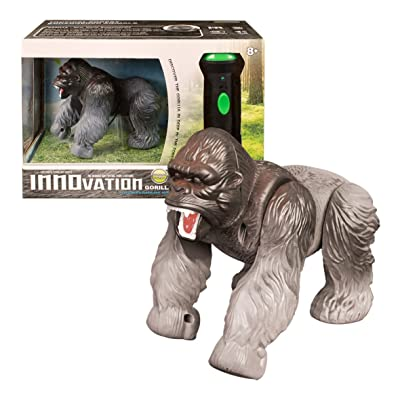 Global Gizmos 54650 Battery Operated Infrared Torch Remote Control Silver Back Gorilla Lights and Sound Toy: Toys & Games