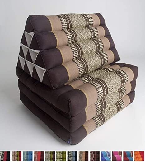 Leewadee Foldout Triangle Thai Cushion, 67x21x3 inches, Kapok, Brown