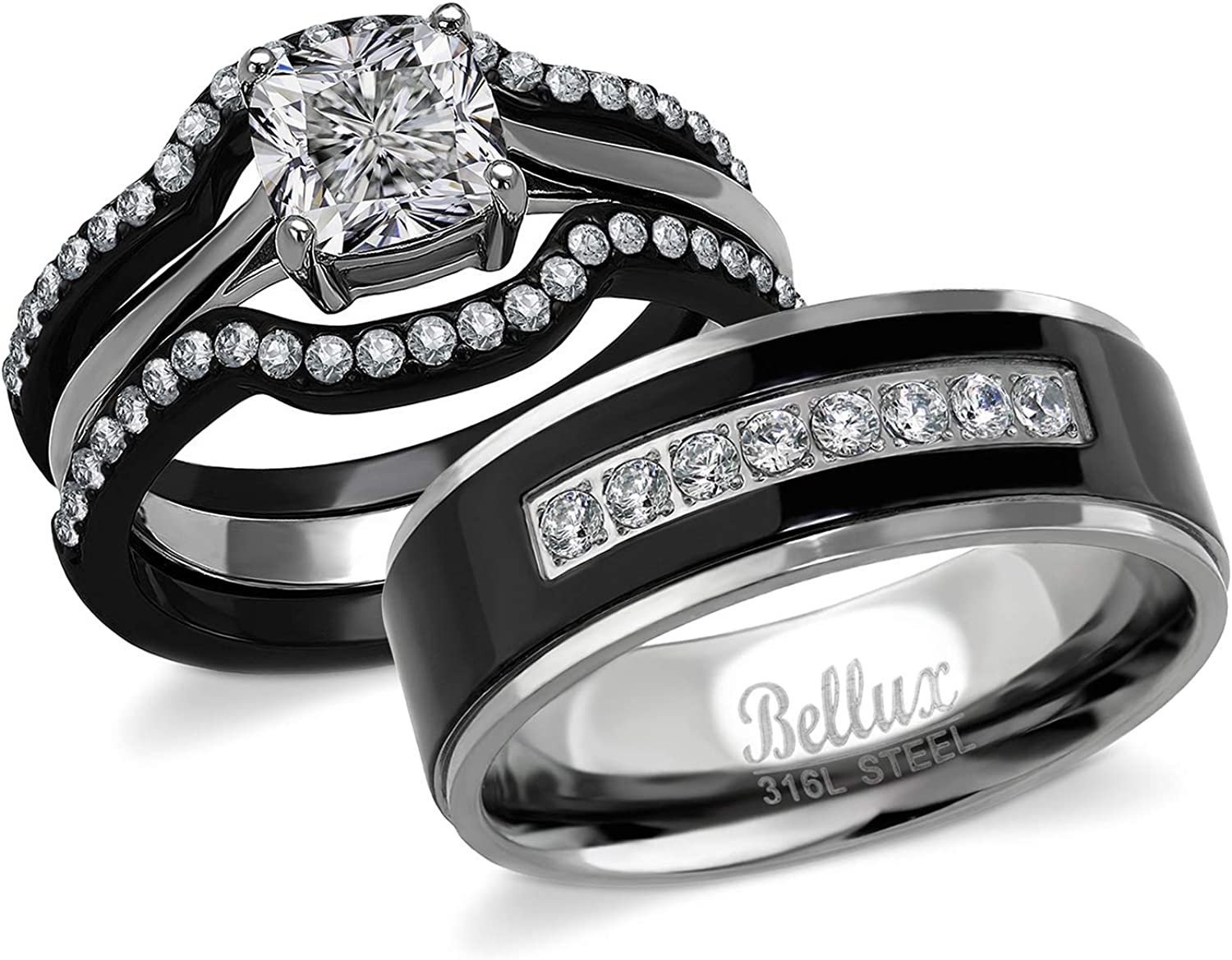 Bellux His and Hers Engagement Rings for Women - Wedding Rings for Women -  Couples Rings - Promise Rings for Couples - Stainless Steel 9.9 Carats