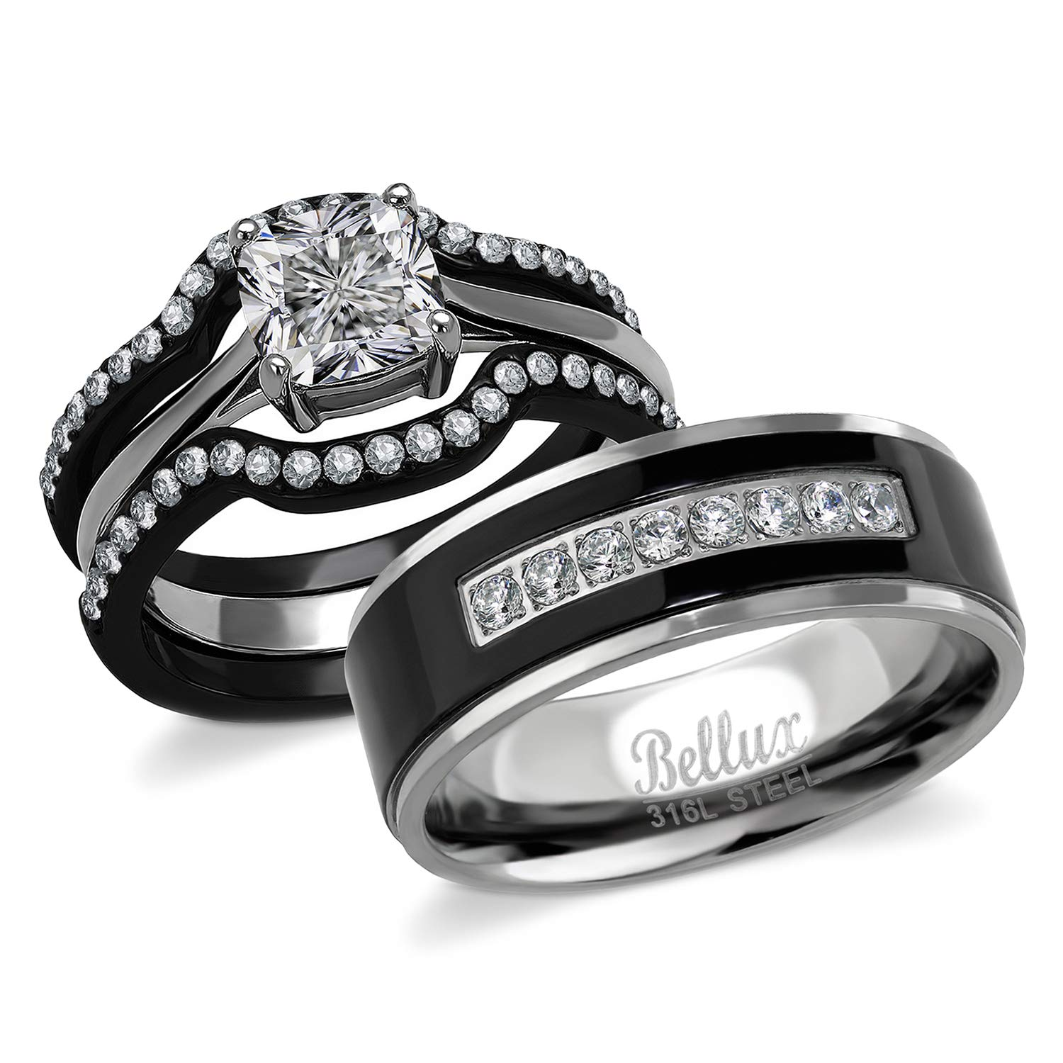 Wedding Bands For Women.Bellux His And Hers Engagement Rings For Women Wedding Rings For Women Couples Rings Promise Rings For Couples Stainless Steel 1 03 Carats
