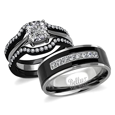 Wedding Ring Sets For Him And Her | Amazon Com Bellux Style His And Hers Wedding Engagement Promise