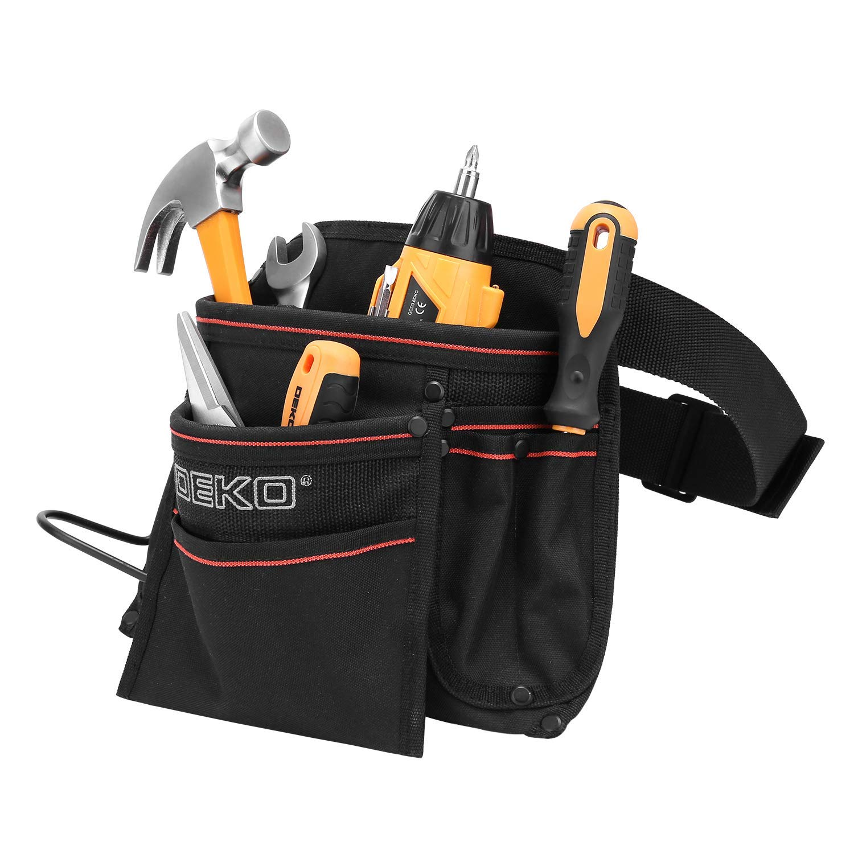 DEKO Tool Pouch with Belt 12 Pockets Electrician Tool Carpenter Nail Waist Bag 600D Oxford cloth Black