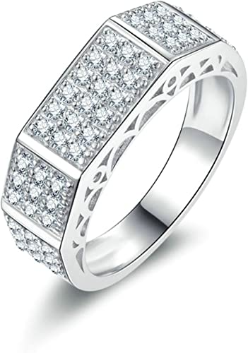 Aokarry 925 Sterling Silver Mens Signet Ring Personalized Iced Out Rings Round Cubic Zirconia Size 5-12