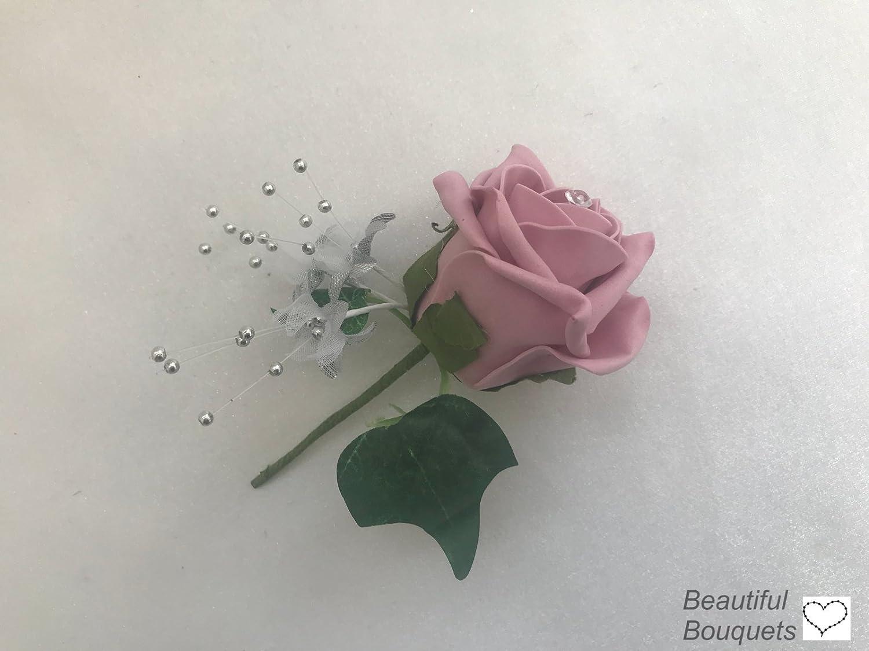Artificial Wedding Flower Bouquets Grey Dusky Pink Amazon