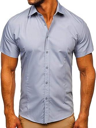 BOLF Hombre Camisa Lisa De Manga Corta 2B2: Amazon.es: Ropa y accesorios