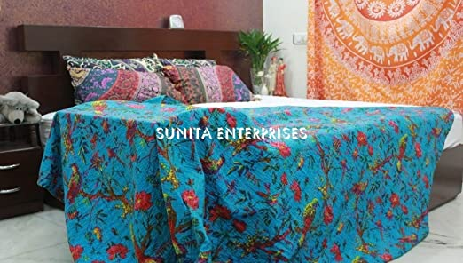 Cotton bird kantha quilt handmade Indian boho bohemian bedding bedspread blanket