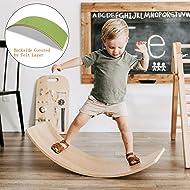 FUNNY SUPPLY Wooden Balance Board Wobbel Balance Board Kid Yoga Board Curvy Board Wooden Rocker Board 35 Inch Kid Size Green Felt Layer