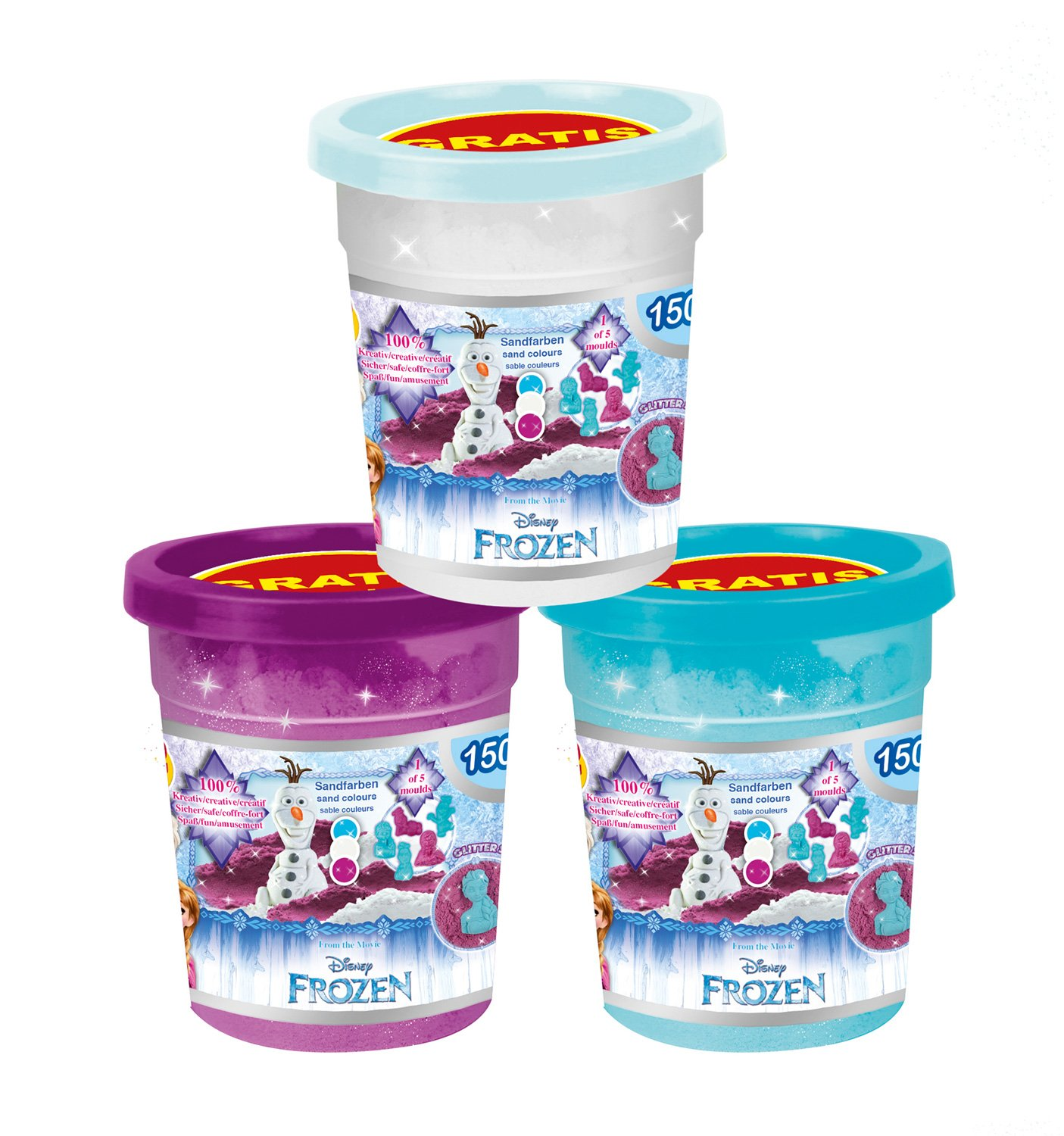 CRAZE 56197/ /Assorted /Frozen Magic Sand Refill 450/g Sparkling Sand with Can Tin/