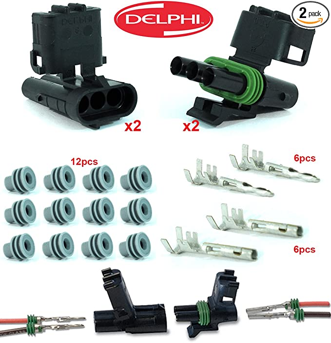 Delphi Packard Weatherpack 2 Pin Terminal Kit 12 AWG