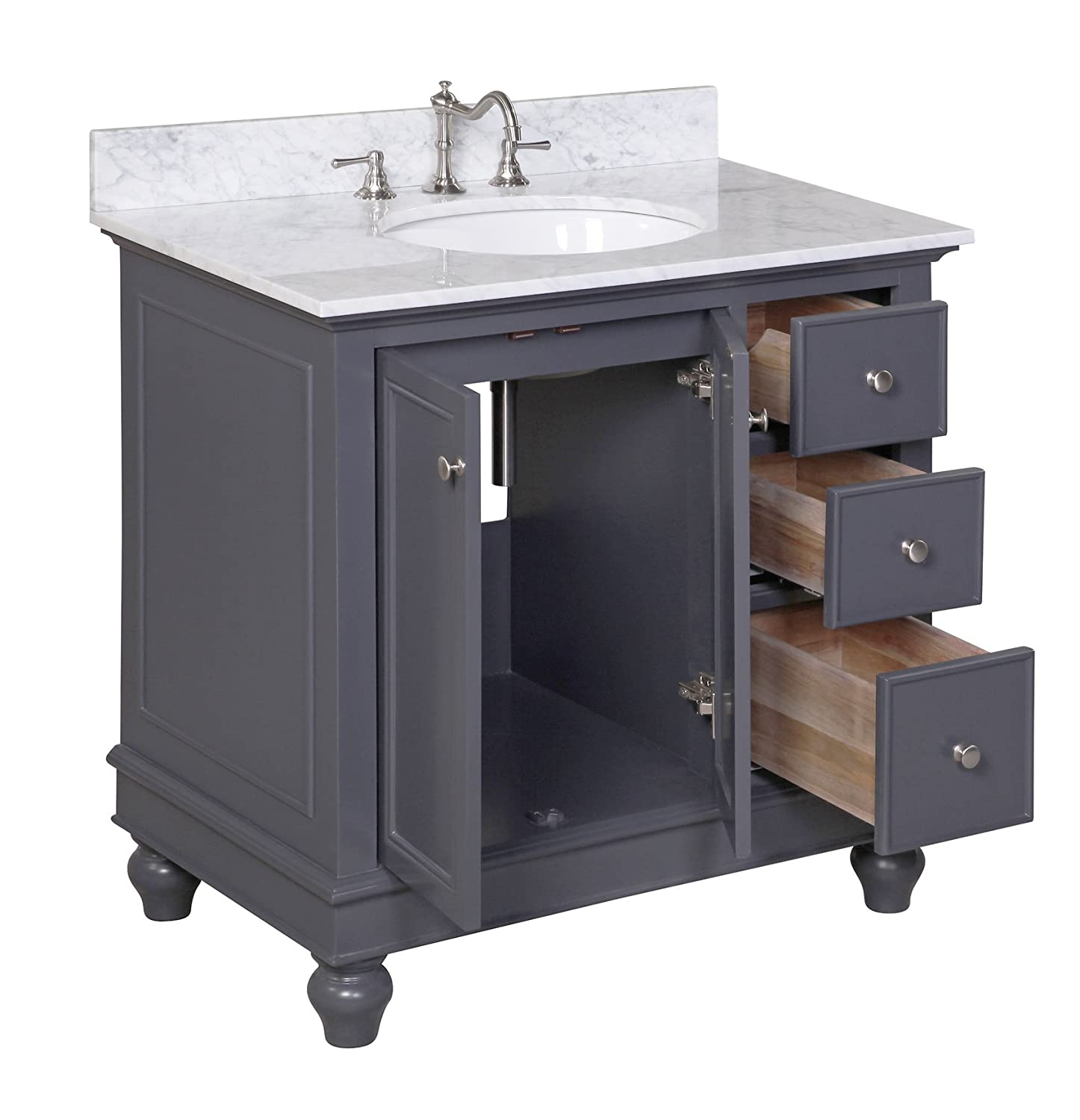 Kitchen Bath Collection KBC2236GYCARR Bella Bathroom Vanity With Marble  Countertop, Cabinet With Soft Close Function And Undermount Ceramic Sink,  ...