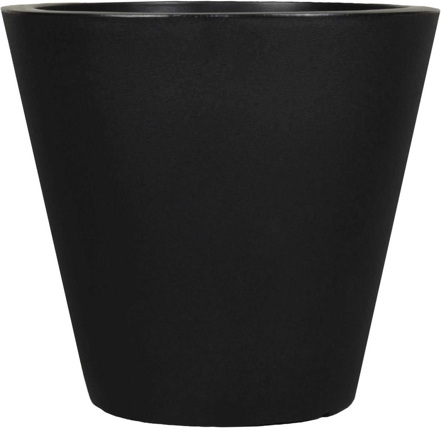 Tusco Products CR16BK Cosmopolitan Round Garden Planter, 16 by 9.5-Inch, Black