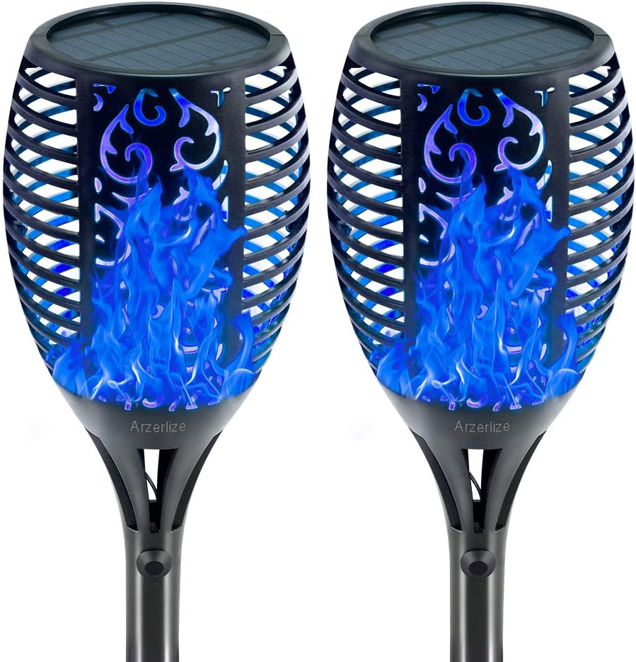 arzerlize Solar Outdoor Lights, Tiki Torches Flickering Flame, Decorative Torch Light Garden Landscape Path Decoration LED Camping Ornaments, Easter Outside Flaming Decor Waterproof Blue 2/P