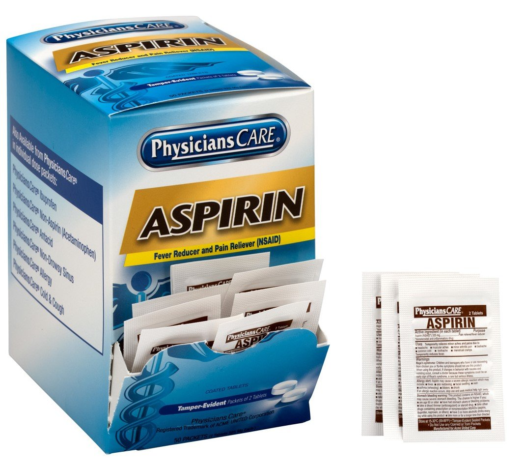 PhysiciansCare Aspirin Pail Reliever Medication (Compare to Bayer), 50 Doses of Two Tablets, 325 mg