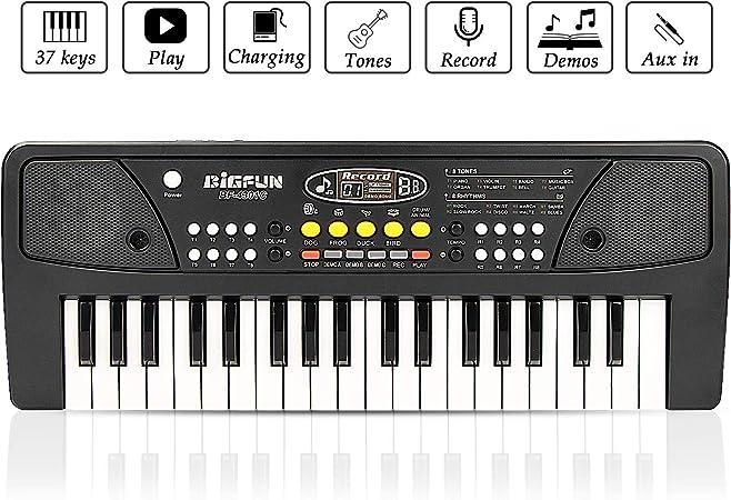 JINRUCHE RecargableTeclado Electrónico Piano 37 Teclas, Teclado de Piano Portátil con Micrófono Teclado Portátil Regalo para Niño, Niña Principiantes ...
