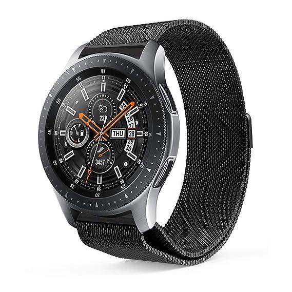 JiaMeng Metal Correas para el Reloj del Samsung Galaxy 42m m, Acero Inoxidable Banda de Reemplazo Pulsera Pulsera magnética milanesa(Negro): Amazon.es: Ropa ...