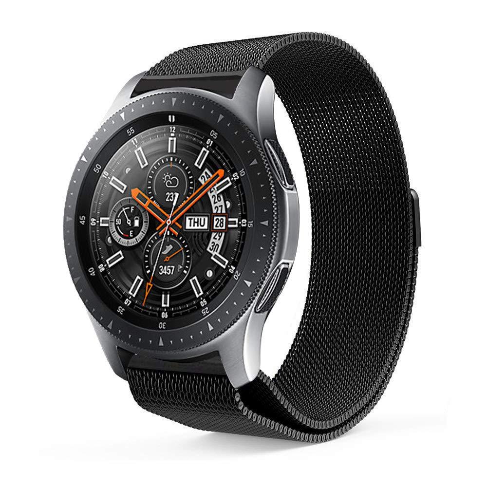 Lovewe Samsung Watch Band,Luxury Milanese Magnetic Loop,Stainless Steel Metal Bracelet,Wristband Strap For Samsung Galaxy Watch(42mm/46mm) (Black, 42mm)