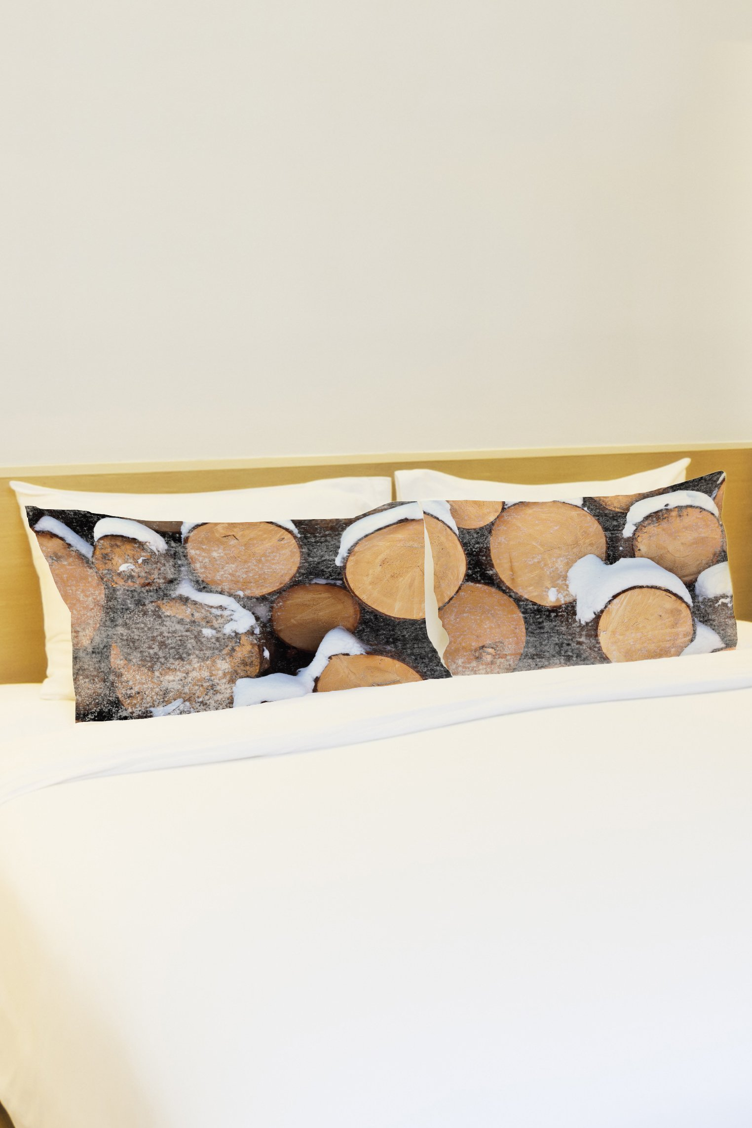 One Bella Casa Stacked Wood Set of 2 Pillowcases by OBC, Standard 20''x 30'', Brown by One Bella Casa (Image #1)