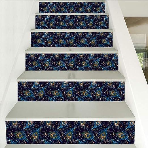WJX 6 Piezas de peldaños de Escalera en el hogar, Etiqueta engomada Creativa de la Escalera de la Pluma del Pavo Real, Alfombra Deslizante Alfombra, Alfombra Alfombra Paso Escalera (18x100cm): Amazon.es: Hogar