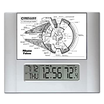 Star wars the millennium falcon blueprint plans digital wall or desk star wars the millennium falcon blueprint plans digital wall or desk clock with temperature and alarm malvernweather Image collections