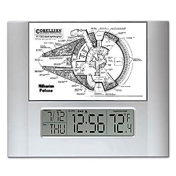 Star Wars el Halcón Milenario iposters planos montaje en pared o Digital reloj de pared con las temperaturas que se y alarma: Amazon.es: Hogar