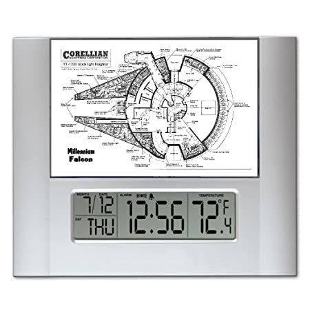 Star wars the millennium falcon blueprint plans digital wall or desk star wars the millennium falcon blueprint plans digital wall or desk clock with temperature and alarm malvernweather Gallery