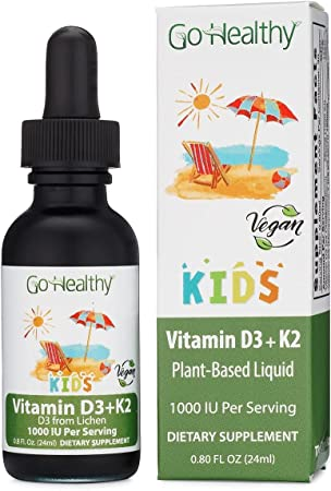 Vitamin D3 + K2 Vegan Liquid Drops by Go Healthy Kids, Toddler, Children - Black Glass 0.80 FL Oz. 30 Servings 1000IU (D3)