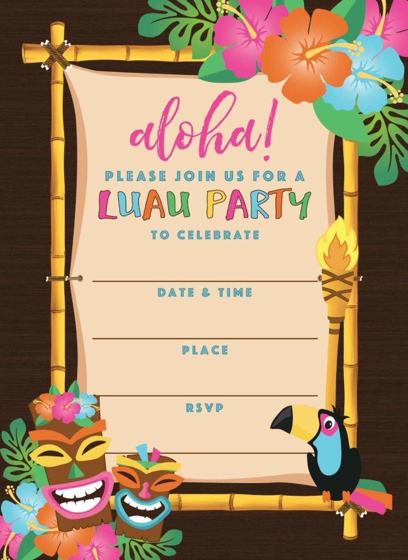 ... Kids 50 Tiki Hawaiian Luau Summer Swim Pool Party Invitations for Children