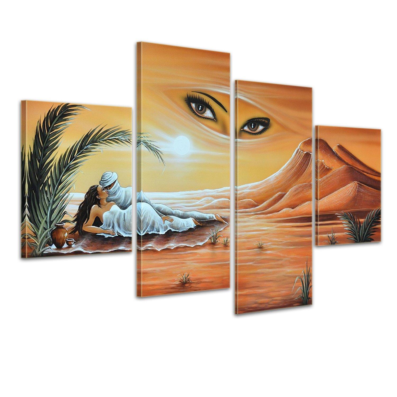 Bilderdepot24 Wandbild - Wüstenpaar - handgemaltes Leinwandbild 120x80cm 4 teilig 467