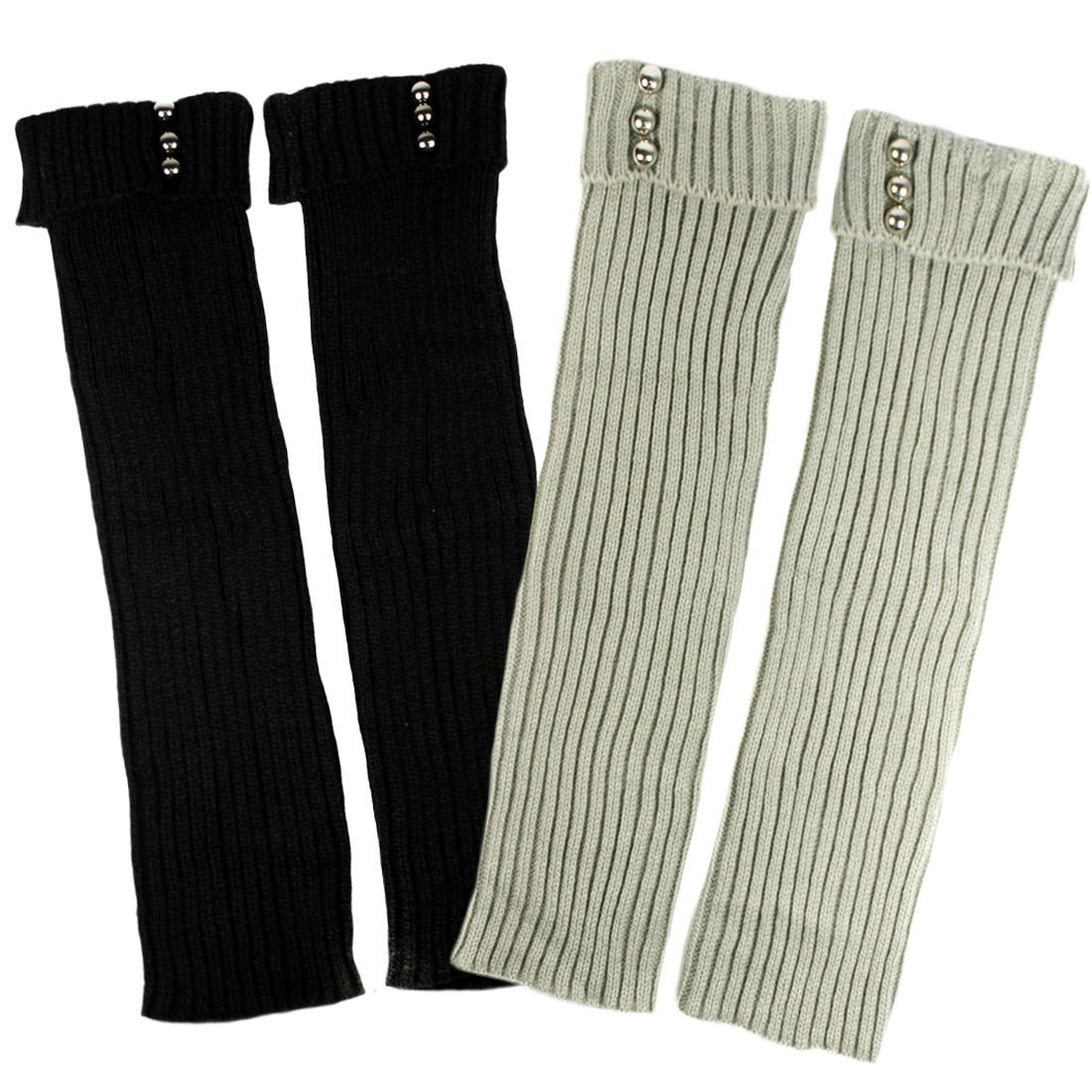 kilofly Leg Warmers Value Pack [Set of 2 Pairs], Solid with Studs Solid with Studs - Black Grey FTW401set2A