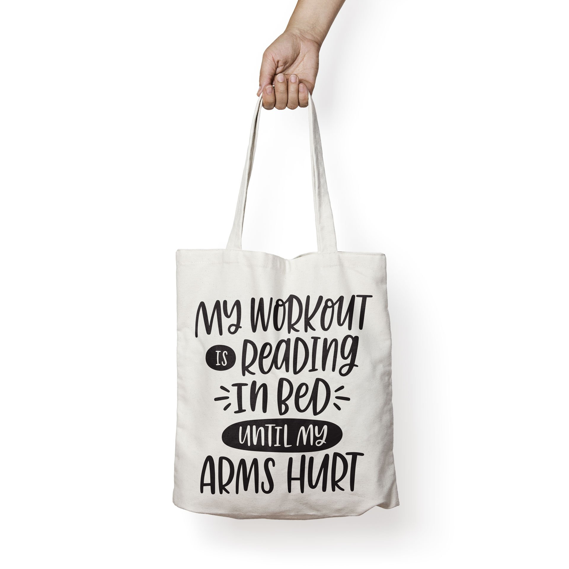 MY WORKOUT IS READING IN BED - Book Lovers Canvas Tote Bag