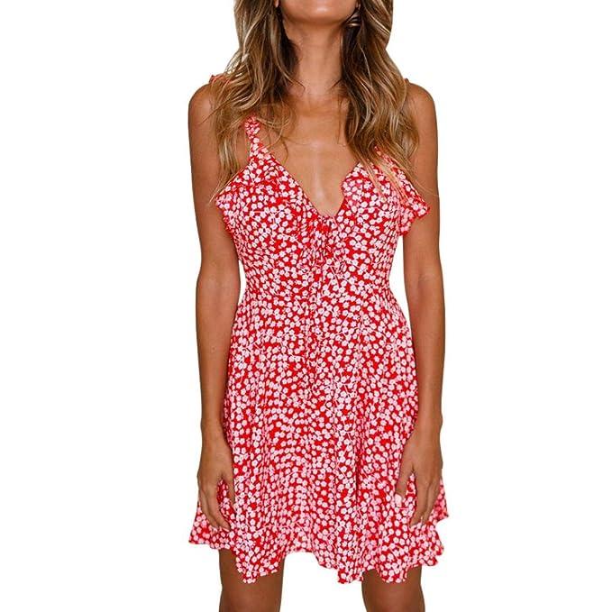 Elecenty Sommerkleid Minikleid Damen,Reizvolle Tief V-Ausschnitt Rückenfrei  Strandkleid Kleider Ärmellos Frauen Kurz